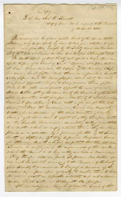 Petition sent by members of the Sioux Nation to Joel Roberts Poinsett