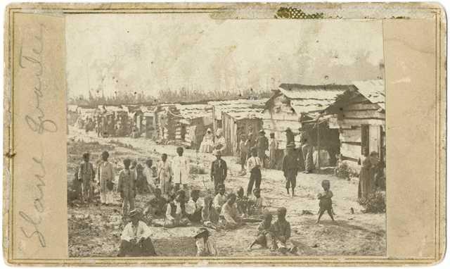 Slave quarters, Helena, Arkansas; taken while Sixth Minnesota Volunteers were camped in Helena.