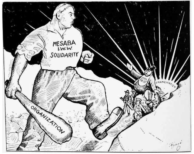 Black and white pro-I.W.W. cartoon printed in the newspaper Solidarity on July 1, 1916.