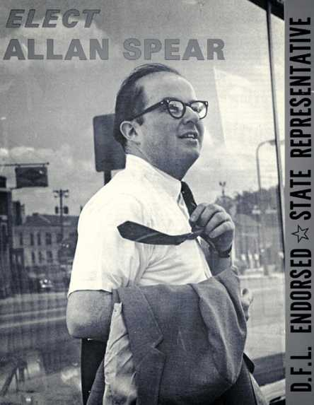 Black and white flyer from Spear's first, and unsuccessful, run for office in 1968.