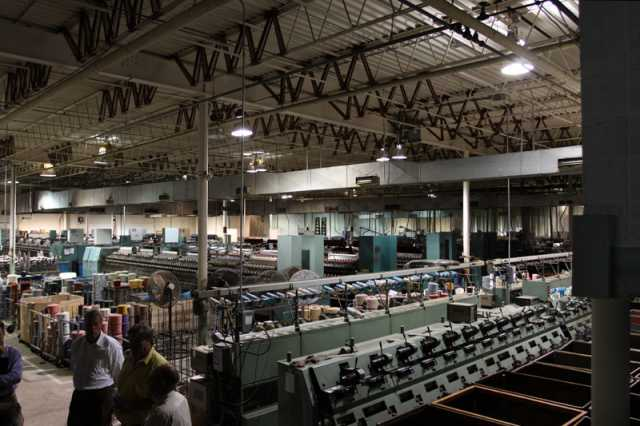 Color image of spinning frame and roving areas of the Faribault Woolen Mills Company, 2011.