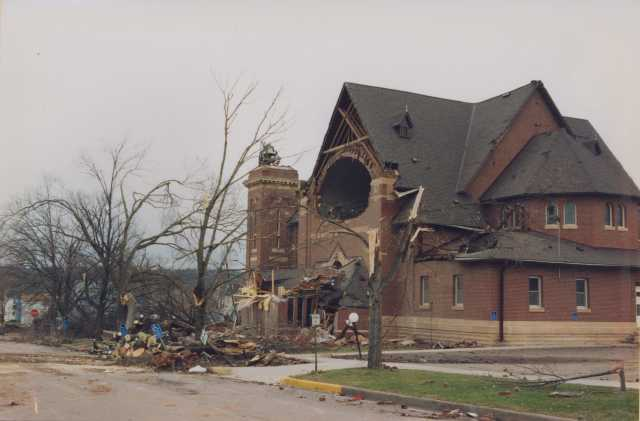 Photograph of a destroyed church after the St. Peter Tornado.