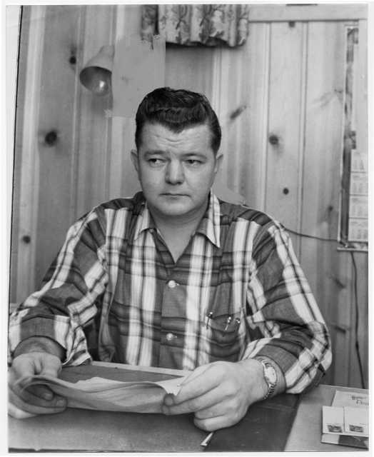 The president of the United Packing House Workers of America (UPWA) union Local 6Local 6, Charles Lee, 1959. Minneapolis Star Tribune portraits collection (news photos, box 108), Minnesota Historical Society