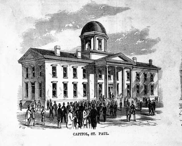 Black and white engraving of the first capitol building