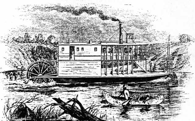 Drawing of the Anson Northup from Harpers New Monthly, August 1860.