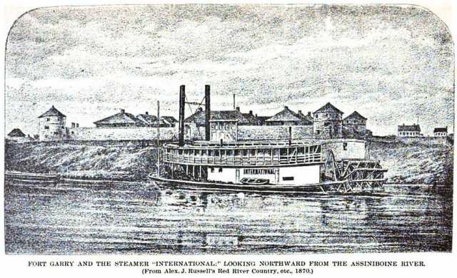 Black and white photograph of the steamer International at Fort Garry, looking northward from the Assiniboine River, 1870.
