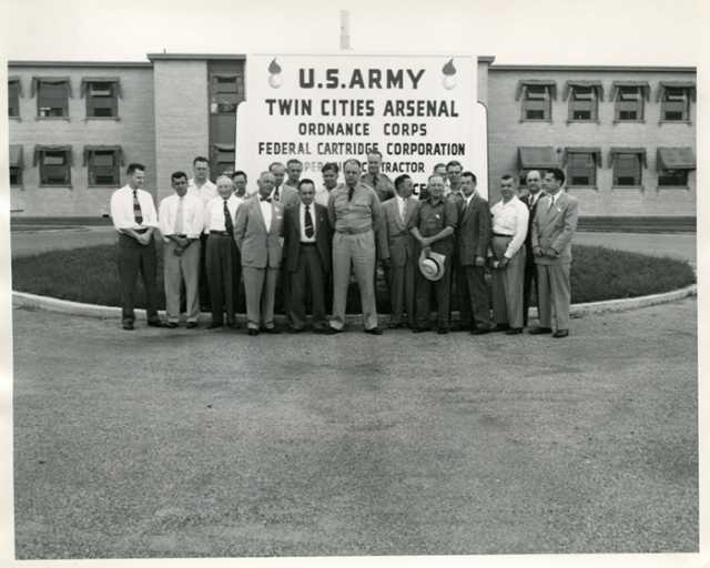 Workers outside the Twin Cities Ordnance Plant