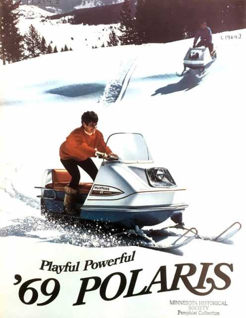 ": Sales brochure featuring the 1969 Polaris Mustang. From ""Pamphlets relating to snowmobiles and snow cruisers, 1939–."" Pamphlets collection (TL234), Minnesota Historical Society, St. Paul."