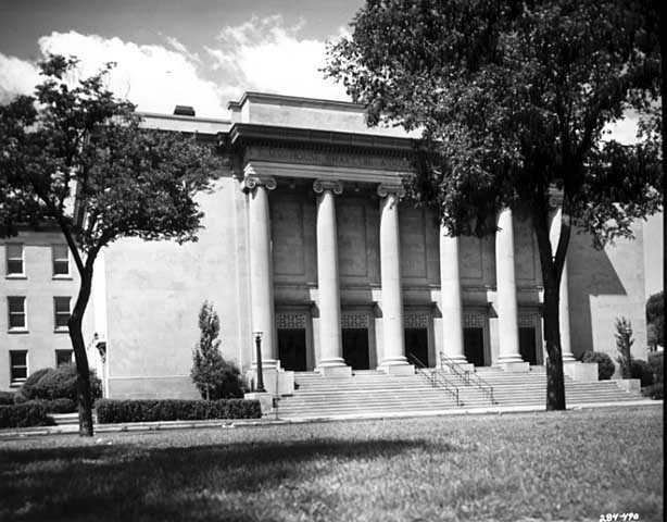 Black and white photograph of Temple Israel, 2324 Emerson Avenue South, Minneapolis, 1963.