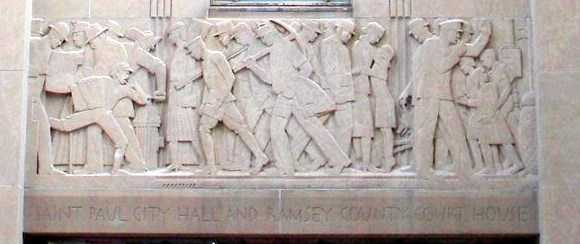 """One of the panels of Lee Lawrie's """"Voice of the People"""" relief sculpture over the north entrance of the St. Paul City Hall and Ramsey County Courthouse. Photographed by Paul Nelson on June 1, 2008."""