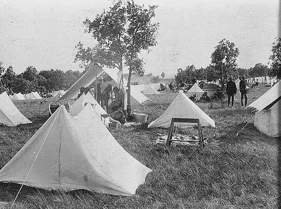 15th regiment moved from Camp Ramsey on the State Fairgrounds to try and control the spread of typhoid fever.