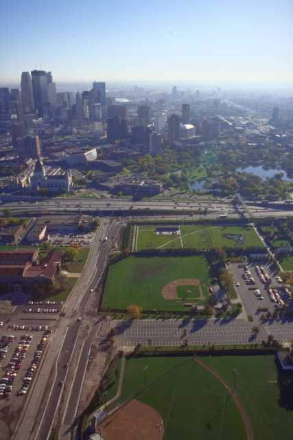 Color aerial view of expanded Minneapolis Sculpture Garden and moved Softball field.