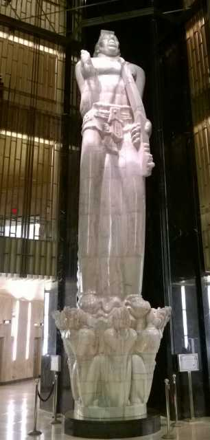 "Color photograph taken by Paul Nelson on April 24, 2014 of Carl Milles's ""God of Peace"" statue inside the St. Paul City Hall and Ramsey County Courthouse."