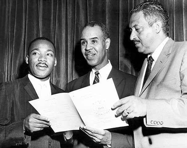 Photograph of Martin Luther King, Roy Wilkins, and Thurgood Marshall