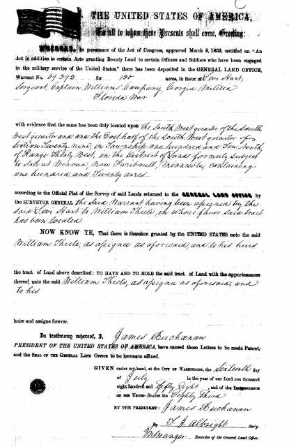 Black and white scan of a military land warrant used by William Thiele to buy part of New Ulm at the Winona Land Office, c.1856 (the patent was issued in 1858).