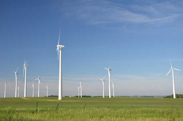 Color image of Wind turbines near Chandler in Murray County, 2014.