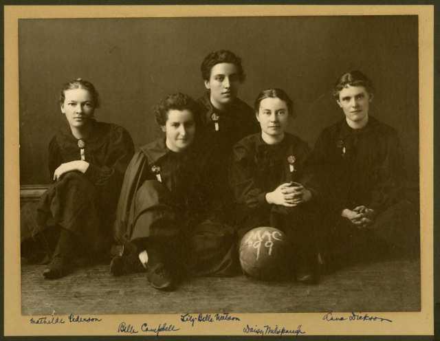 Photograph of Macalester Women's baseketball team, 1899