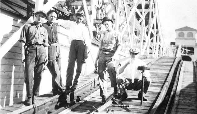 Roller coaster crew at Wonderland Park, Minneapolis; Robert Mauritz Swenson is second from left.