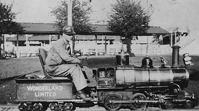 Miniature train at Wonderland Amusement Park, Minneapolis.