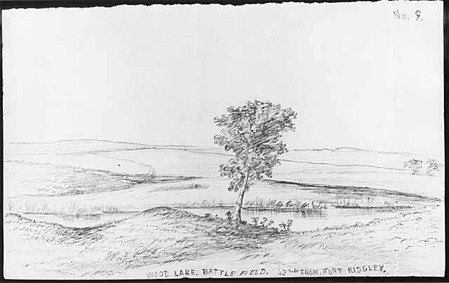 Wood Lake. Battle Field. 43 Mls. from Fort Ridgley [i.e. Ridgely]