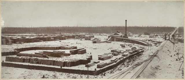 The Brennan Lumber Company in Hinckley, Minnesota, before September 1, 1894.