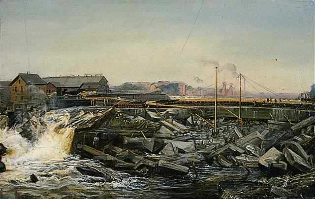 St. Anthony Falls: Reconstructing St. Anthony Falls, 1869 (1)