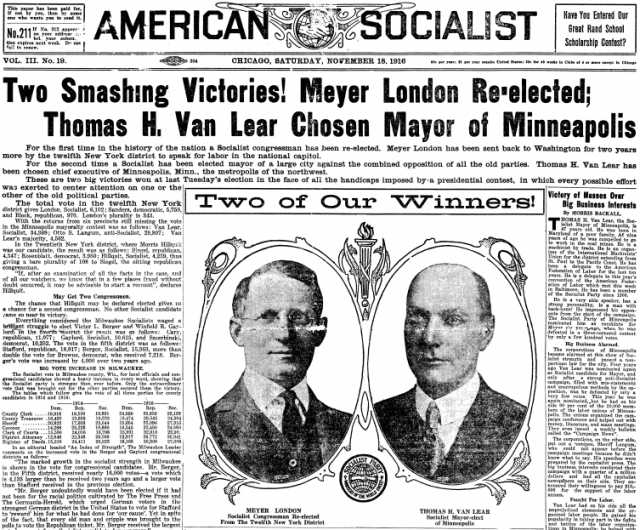 American Socialist front page featuring Thomas Van Lear and Meyer London