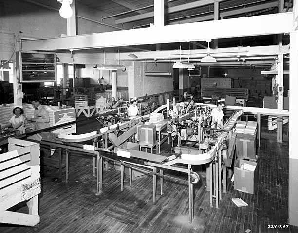 Photograph of an assembly line at the Ry-Krisp factory.