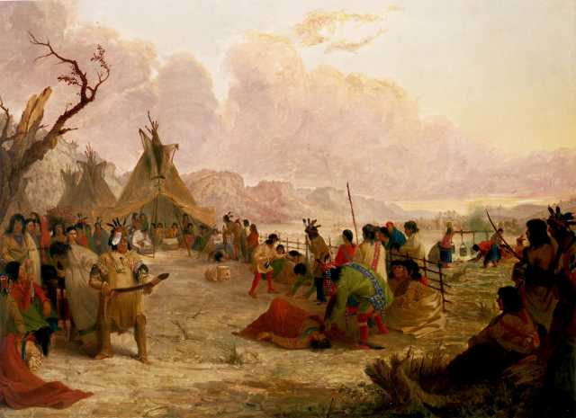 Painting of a Medicine Dance of the Dakota, 1849. Painting by Seth Eastman.