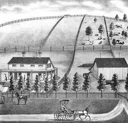 lithograph showing farm, houses, and rolling fields