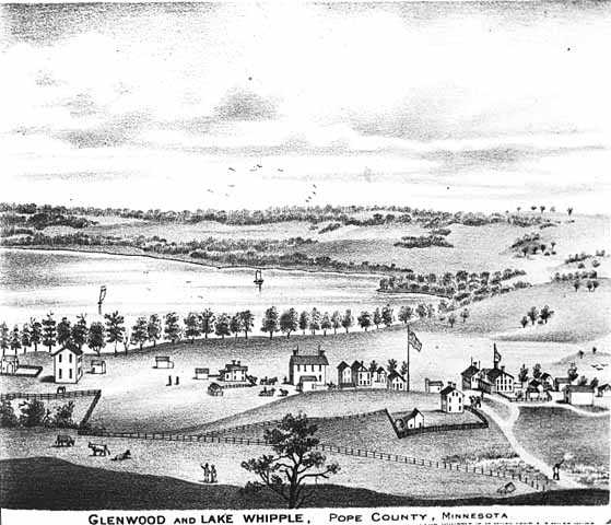 lithograph showing a bird's eye view of Glenwood and Lake Whipple
