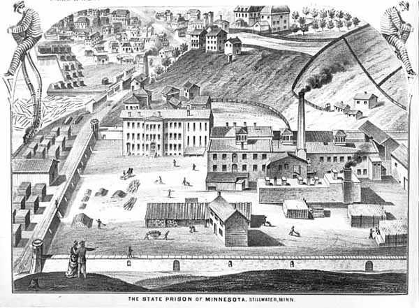 lithograph of the prison facilities and grounds at Stillwater