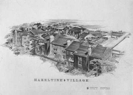 Black and white image of an artist's rendering of Jonathan Village, late 1960s or early 1970s.