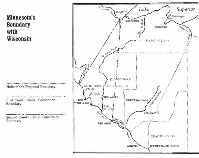 """Map showing three Minnesota–Wisconsin boundaries proposed during the late 1840s. Created by Alan Ominsky and reproduced in Lass, William E., """"Minnesota's Separation from Wisconsin,"""" Minnesota History 50 (Winter 1987): 311."""