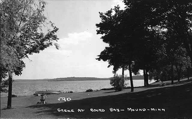 Photograph of Cook's Bay in Mound c.1950. This is where the Andrews Sisters spent childhood summers. A portion of Maxene Andrews's ashes were scattered here.