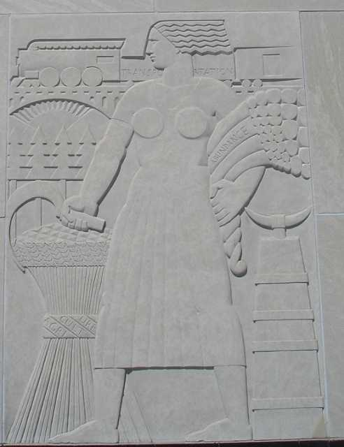 """One of the panels of Lee Lawrie's """"Voice of the People"""" relief sculpture flanking the south entrance doors of the St. Paul City Hall and Ramsey County Courthouse. Photographed by Paul Nelson on April 13, 2008."""
