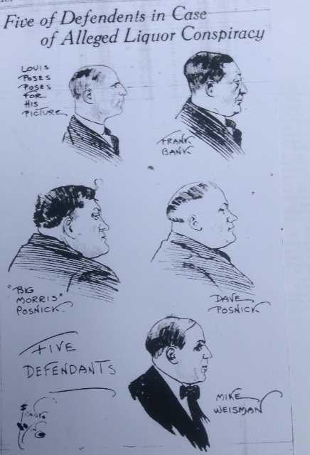 Sketch of defendants in Winnipeg Liquor Conspiracy from the Minneapolis Tribune, 1920