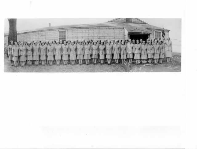 Black and white photograph of Nisei Women's Army Corps (WAC) detachment at Fort Snelling, c.1945.