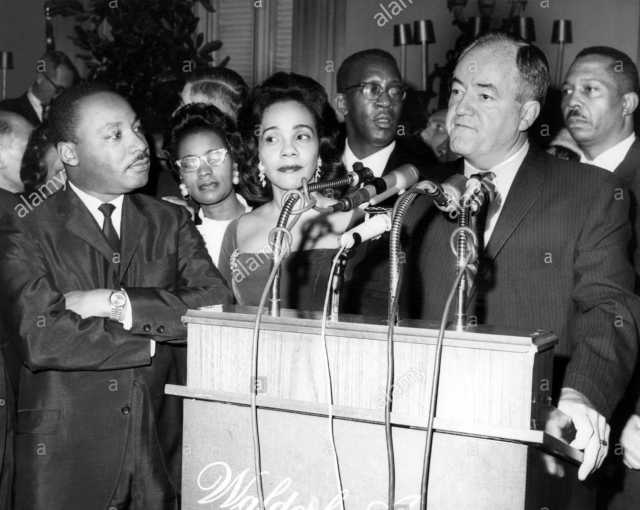 Black and white photograph of Martin Luther King and his wife, Coretta Scott King, with Vice President Hubert Humphrey, c. late 1960s.