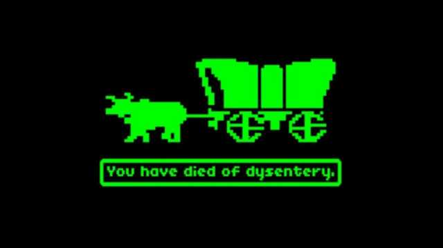 Screenshot from the original Oregon Trail computer game, ca. 1980s. Image by Gameloft, MECC.