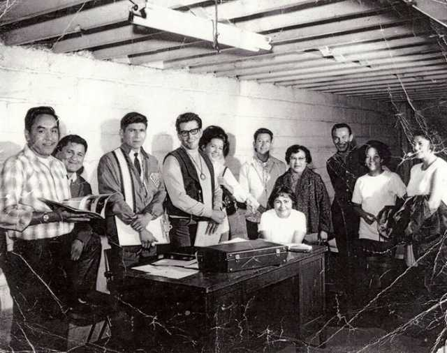 Black and white photograph of the first board members of the American Indian Movement (AIM), 1968.
