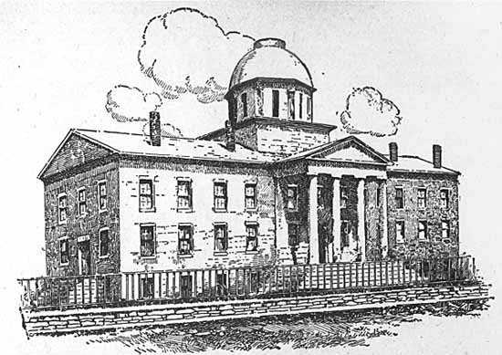 Black and white photo print of a drawing the state capitol c.1853–1873.