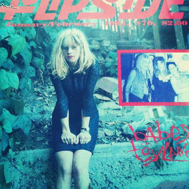 Babes in Toyland's Kat Bjelland on the cover of the January/February 1991 issue of the fanzine Flipside. The inset image shows (left to right): Lori Barbero; Bjelland; and Michelle Leon.