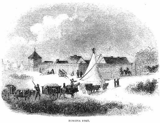 Black and white illustration of Fur Trade fort at Pembina with Red River Trail oxcarts in the foreground, 1860.