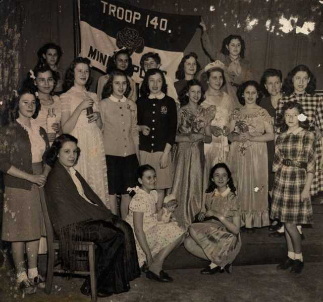 Black and white photograph of Emanuel Cohen Girl Scout Troop 140, Minneapolis, 1944.