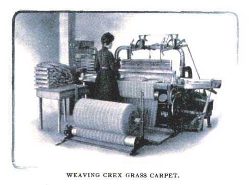 Color illustration of a Crex Carpet Company employee operating a carpet loom, c.1908.