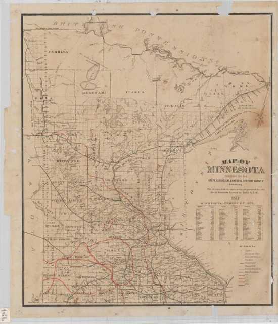 Locust Egg Map of Minnesota, 1877