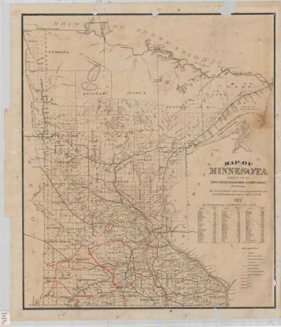 Locust Egg Map of Minnesota, 1877