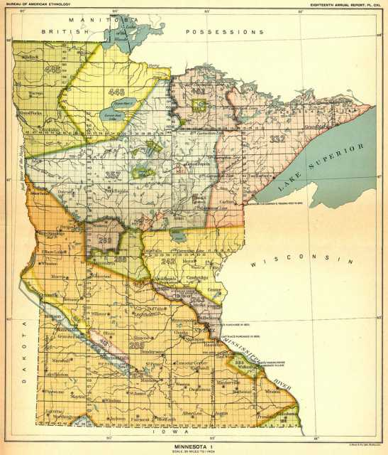 Map of Native American land cessions in the present-day state of Minnesota