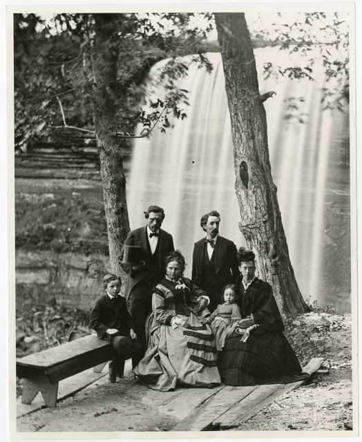 William H. Illingworth (left) with group at Minnehaha Falls